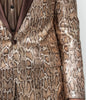 Mens Exotic Shiny Brown Snake Print Slim Fit Blazer w/ Bow Tie Barabas BL3016