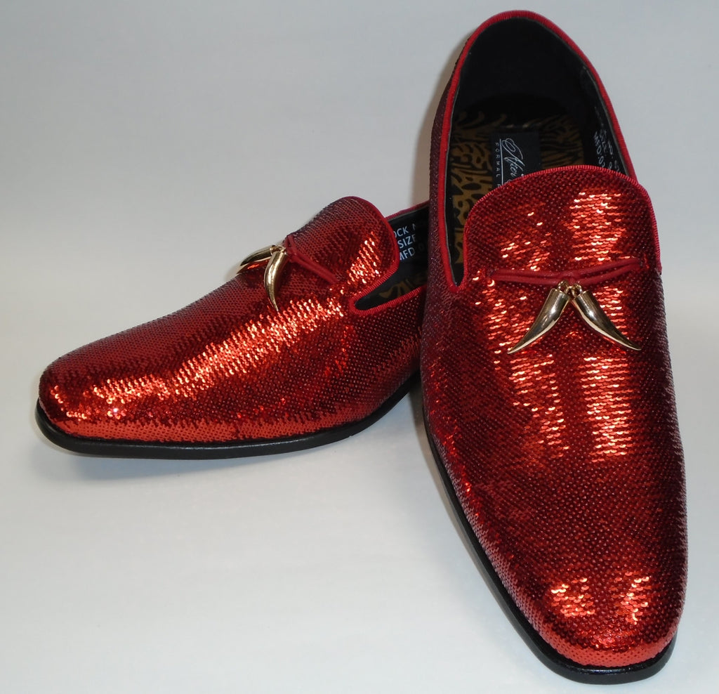 Mens Amazing Shiny Sparkly Cherry Red Sequin Dress Shoes After Midnight 6759 S