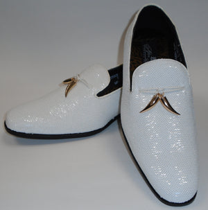 Mens Amazing Shiny Sparkly White Sequin Dress Shoes After Midnight 6759 S
