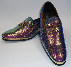 Mens Amazing Color Change Rose Gold Green Sequin Dress Shoes After Midnight 6759 S