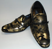 Mens Abstract Black Gold Slip On Loafers Dress Shoes After Midnight 6828 S