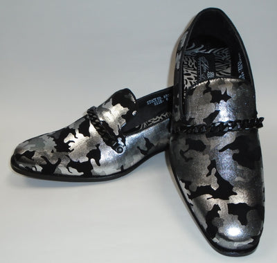 Mens Silver Black Abstract Slip On Loafers Dress Shoes After Midnight 6828 S