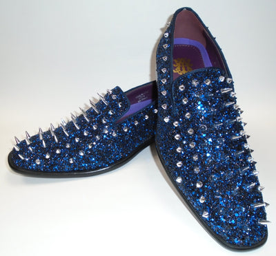 Mens Royal Blue Multi Glitter Ultra Spike Dress Loafers Shoes After Midnight 6788