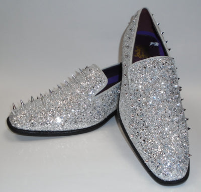 Mens Silver Mega Glitter Ultra Spike Dress Loafers Shoes After Midnight 6788