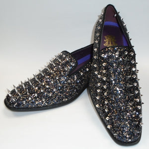 Mens Black Multi Glitter Ultra Spike Dress Loafers Shoes After Midnight 6788 S