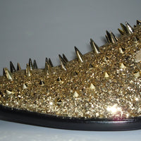 Mens Gold Mega Glitter Ultra Spike Dress Loafers Shoes After Midnight 6788 S