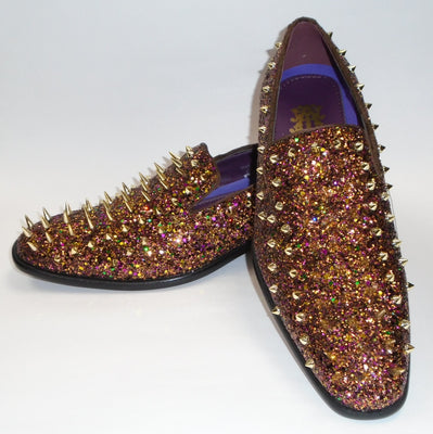 Mens Bronze Copper Multi Glitter Ultra Spike Dress Loafers Shoes After Midnight 6788 S