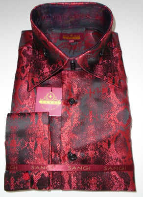 Mens Shimmery Red Black Snake High Collar Shirt SANGI MILAN COLLECTION # 2064