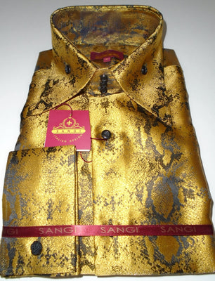 Mens Gold Foil Black Snake High Collar F/C Shirt SANGI MILAN COLLECTION # 2065