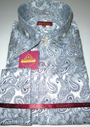 Mens Shiny Silver Black Paisley High Collar French Cuff Shirt SANGI MILAN COLLECTION # 2044
