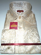 Coming Soon: Mens Cream Foil Ivy Paisley High Collar F/C Shirt SANGI MILAN COLLECTION # 2049
