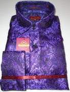 Mens Purple Foil Ivy Paisley High Collar F/C Shirt SANGI MILAN COLLECTION # 2053