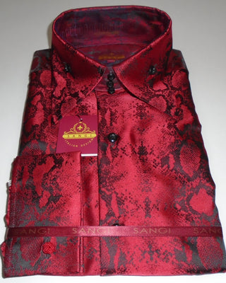 Mens Red Matte Black Snake High Collar Shirt SANGI MILAN COLLECTION # 2063