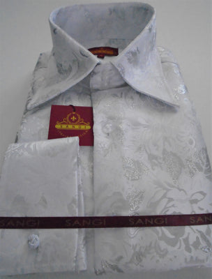 Mens White Metallic Floral High Collar French Cuff Shirt SANGI MILAN COLLECTION 2058