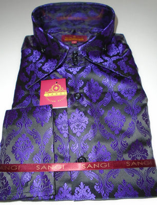 Mens Black Purple Damask High Collar French Cuff Jacquard Shirt SANGI MILAN COLLECTION 2038