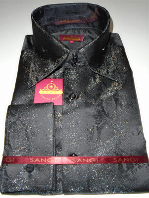 Mens Shimmery Black Snake High Collar Jacquard Shirt SANGI MILAN COLLECTION 2062