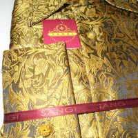 Mens Gold Foil Ivy Paisley High Collar F/C Jacquard Shirt SANGI MILAN COLLECTION 2051