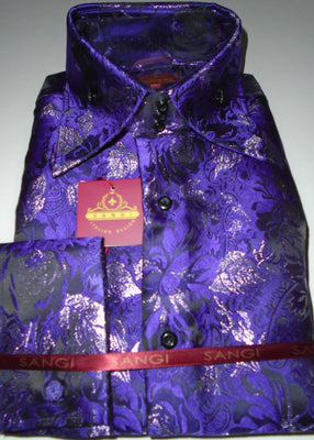 Mens Purple Metallic Floral High Collar French Cuff Shirt SANGI MILAN COLLECTION 2056