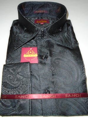 Mens Shimmery Black Paisley High Collar F/C Shirt SANGI MILAN COLLECTION # 2036