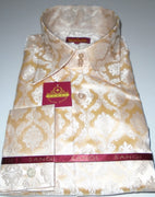 Mens Cream Ivory Damask High Collar French Cuff Jacquard Shirt SANGI MILAN COLLECTION 2037