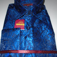 Mens Royal Blue Metallic Foil Ivy Paisley High Collar F/C Jacquard Shirt SANGI MILAN COLLECTION 2047