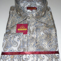 Mens Cream Shimmer Paisley High Collar F/C Jacquard Shirt SANGI MILAN COLLECTION 2040