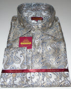 Coming Soon: Mens Cream Shimmer Paisley High Collar F/C Jacquard Shirt SANGI MILAN COLLECTION 2040