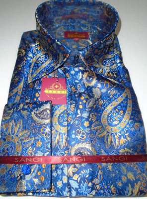 Mens Blue Orange Paisley Vine High Collar F/C Jacquard Shirt SANGI MILAN COLLECTION 2046