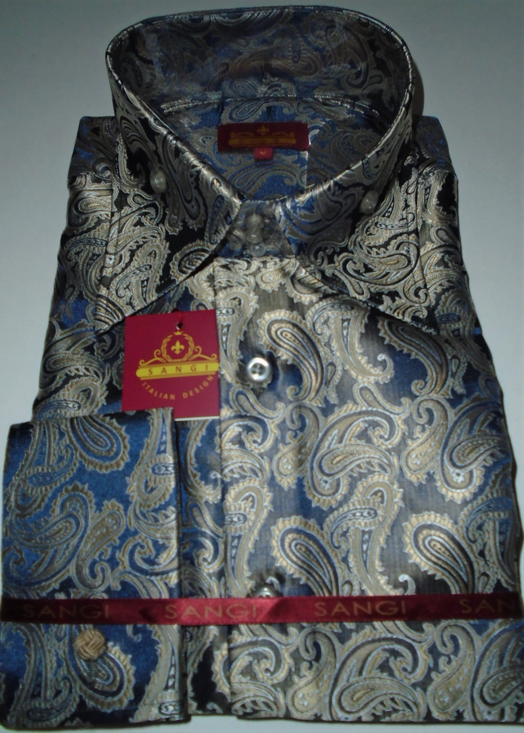 Mens Navy Taupe Shimmer Paisley High Collar F/C Jacquard Shirt SANGI MILAN COLLECTION 2041