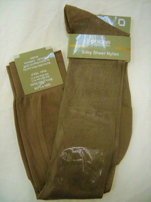 Mens Light Brown/Taupe Origins Silky Sheer Knee-High OTC Nylon Dress Socks TNT