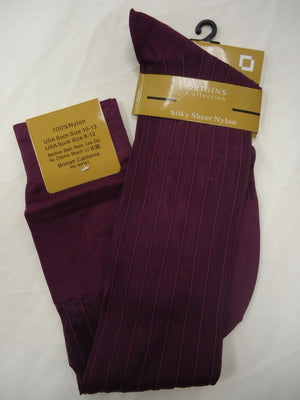 Mens Burgundy Origins Silky Sheer Knee-High OTC Nylon Dress Socks TNT - Nader Fashion Las Vegas