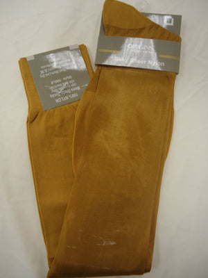 Mens Mustard Origins Silky Sheer Knee-High OTC Nylon Dress Socks TNT - Nader Fashion Las Vegas