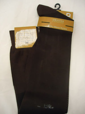 Mens Brown Origins Silky Sheer Knee-High OTC Nylon Dress Socks TNT - Nader Fashion Las Vegas