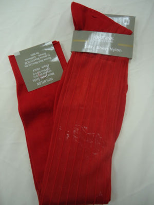 Mens Red Origins Silky Sheer Knee-High OTC Nylon Dress Socks TNT - Nader Fashion Las Vegas