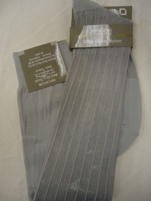 Mens Silver Gray Origins Silky Sheer Knee-High OTC Nylon Dress Socks TNT - Nader Fashion Las Vegas