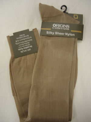 Mens Beige Origins Silky Sheer Knee-High OTC Nylon Dress Socks TNT