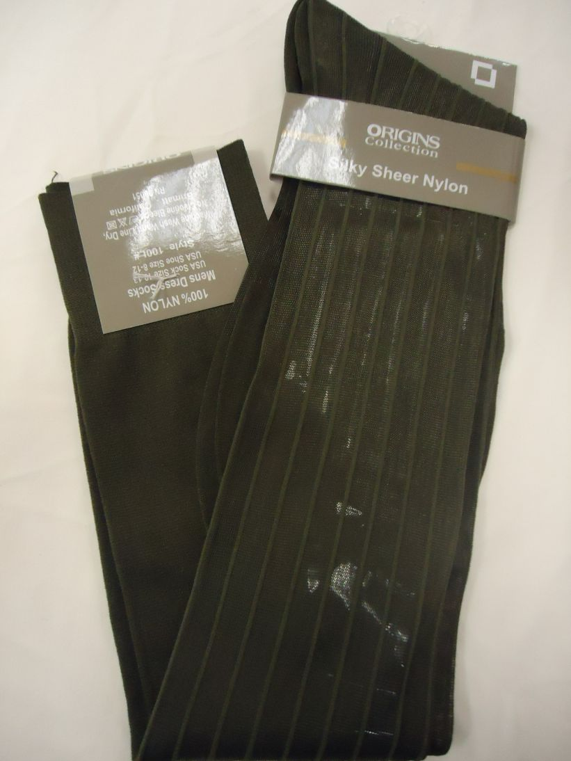 Mens Olive Green Origins Silky Sheer Knee-High OTC Nylon Dress Socks TNT - Nader Fashion Las Vegas