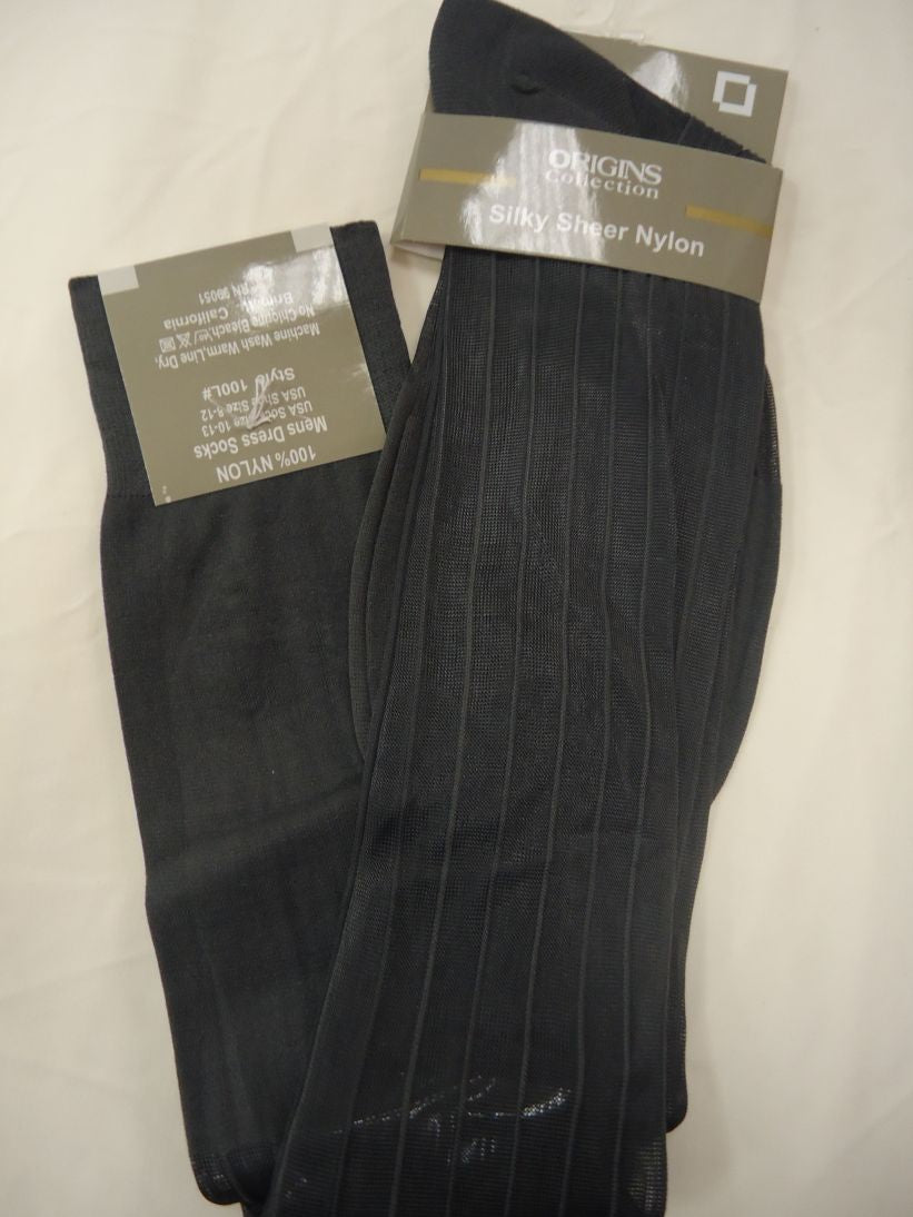 Mens Charcoal Gray Origins Silky Sheer Knee-High OTC Nylon Dress Socks TNT - Nader Fashion Las Vegas