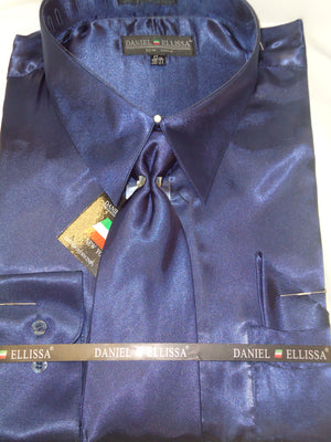 Mens Daniel Ellissa Navy Blue Shiny Silky Satin Formal Dress Shirt Tie & Hanky