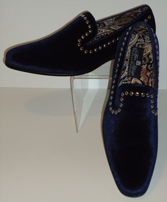 Mens Elegant Navy Blue Velvet Slip On Dress Shoes After Midnight 6659