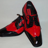 Expressions 6492 Mens Old School Black Red Two-Tone Dress Shoes Shiny Croc Look S