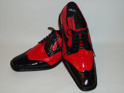 Expressions 6492 Mens Old School Black Red Two-Tone Dress Shoes Shiny Croc Look