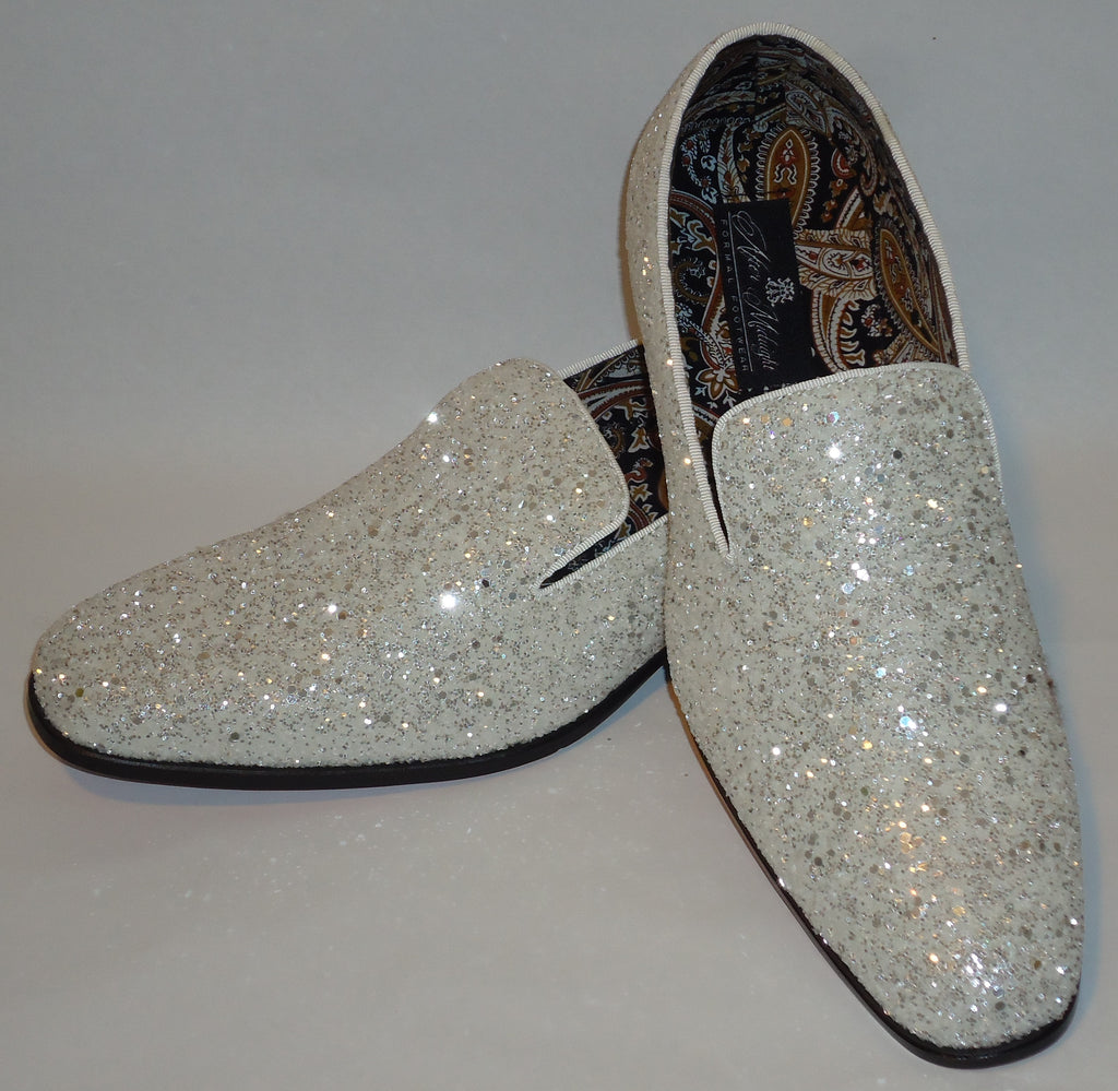 Mens White Glitter Pop Formal Slip On Dress Loafers Shoes After Midnight 6683