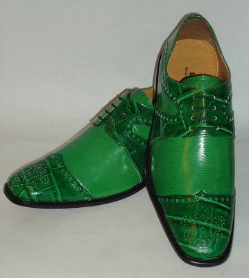 Mens Kelly Green Croco Embossed Wing Tip Dress Shoes Liberty LS1045