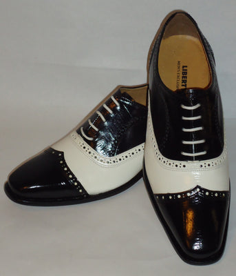 Mens Awesome Stand Out Black White Wing Tip Dress Shoes Liberty LS1047