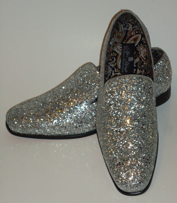 Mens Silver Gray Glitter Formal Slip On Dress Loafers After Midnight 6683