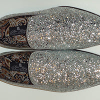 Mens Silver Gray Glitter Formal Slip On Dress Loafers After Midnight 6683 S