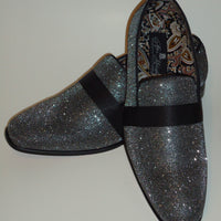 Mens Shiny Gunmetal Charcoal Mesh Dressy Slip On Loafers After Midnight 6660