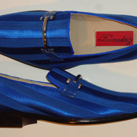 Mens Classy Royal Blue Satin Stripe Tux Dress Loafers Shoes Expressions 6757