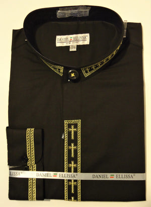 Mens Mandarin Collarless No Collar Black Dress Shirt with Cross Design S DS2005C